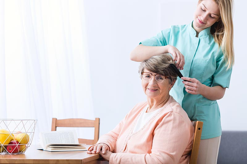 Caretaker Combing Seniors Hair